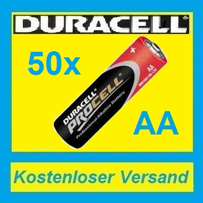 50X-Mignon-AA-MN1500-LR6-Batterie-Duracell-Procell